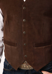 Roper Men's Vest Leathervbm Mens Vest Tall Man Dark Brown Suede Vest