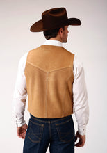 Roper Men's Vest Leathervbm Mens Vest Tall Man Sand Color Suede Vest