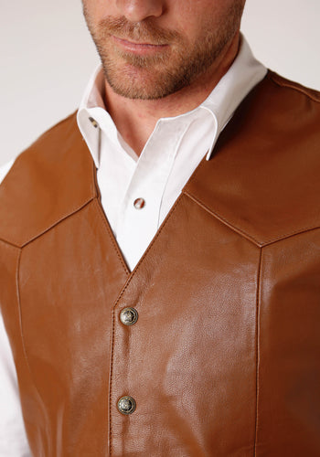 Roper Men's Vest Leathervbm Mens Vest Tall Man Mid Brown Goat Nappa Vest