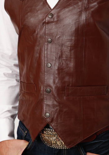 Roper Men's Vest Leatherow Mens Vest Big Man Dark Brown Lamb Nappa Vest