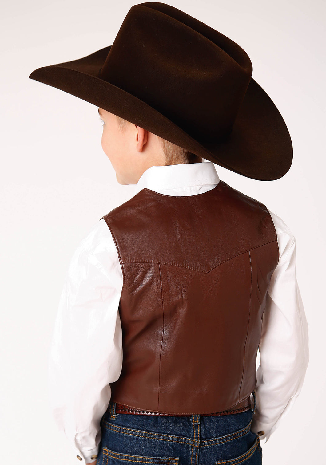 Roper Boys Vest Leatherow Kids Vest Dark Brown Lamb Nappa Vest