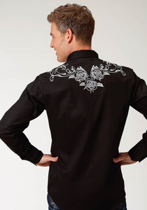"Old West Collection Oldwest Mens Long Sleeve 1917 ""white Rose"" Embroidery"