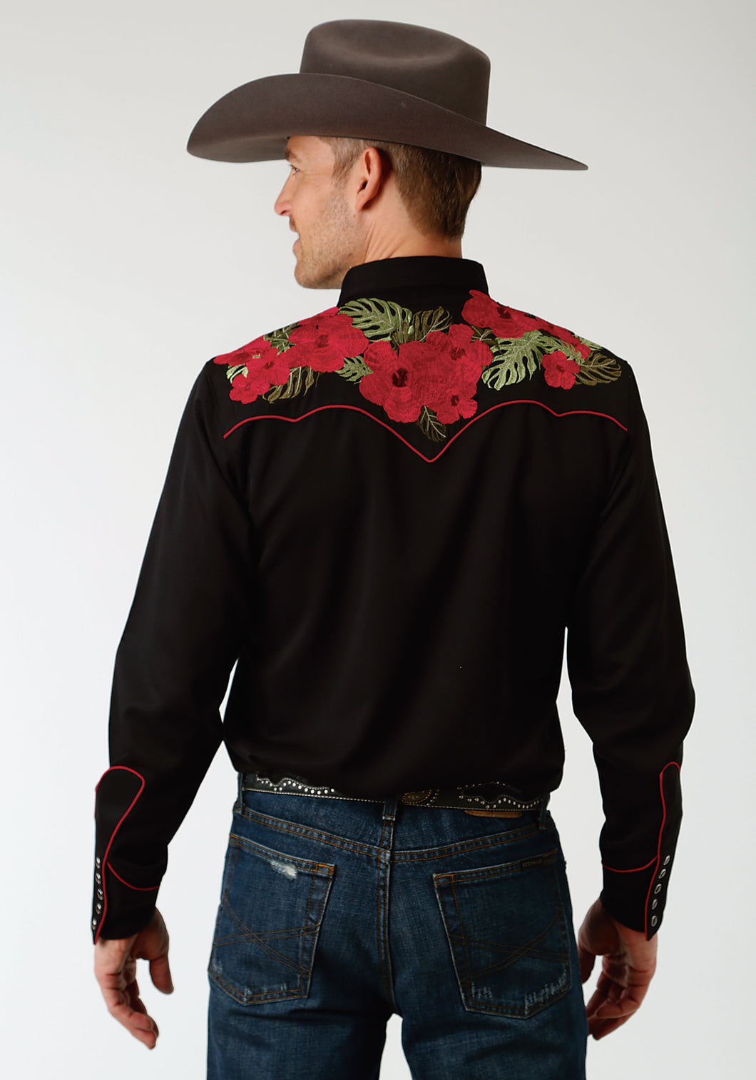 Old West Collection Oldwest Mens Long Sleeve Shirt 1396 Hawaiian Floral Embroidery