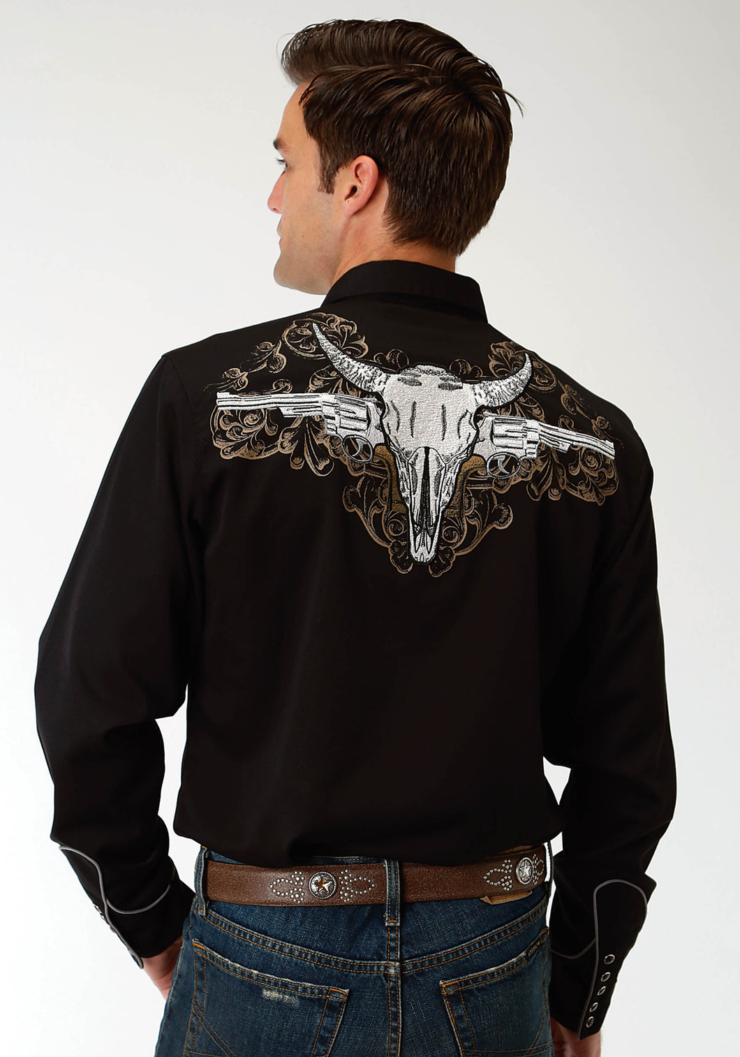 Old West Collection Oldwest Mens Long Sleeve Shirt 1691 Skull And Shooter