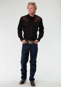 Old West Collection Oldwest Mens Long Sleeve Shirt 0478 Tribal Cross