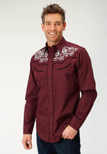 Old West Collection Oldwest Mens Long Sleeve 1885 Maroon Wfancy Emb On Frt And Bk