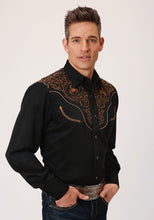 Old West Collection Oldwest Mens Long Sleeve 00348 Rayon Wbucking Bronc Emb