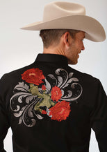 Old West Collection Oldwest Mens Long Sleeve Shirt 1345 Cactus Flower Embroidery