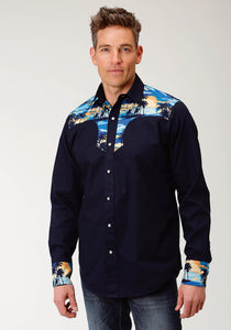 West Made Collection Westm Mens Long Sleeve 2356 Solid Poplin - Navy
