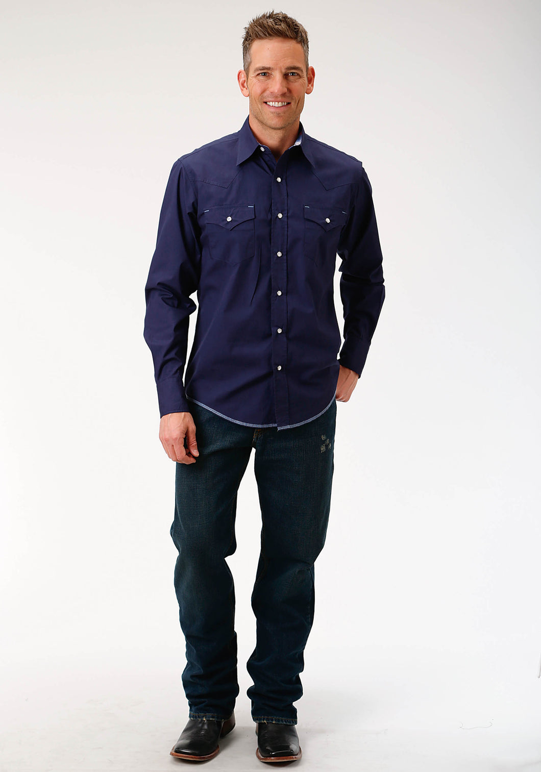 West Made Collection Westm Mens Long Sleeve Shirt 1540 Solid Poplin - Navy