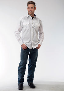 Performance Collection Westm Mens Long Sleeve Shirt 0736 Solid Poplin - White