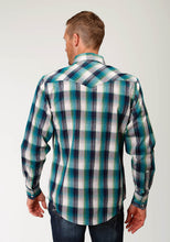 West Made Collection Westm Mens Long Sleeve 2604 Blue Arrow Dobby