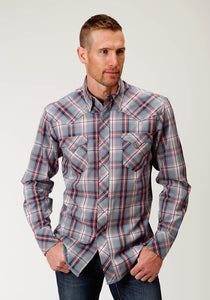 West Made Collection Westm Mens Long Sleeve 2605 Grey Diamond Plaid