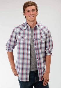 Performance Collection Westm Mens Long Sleeve Shirt 0436 Sunset Dobby Plaid