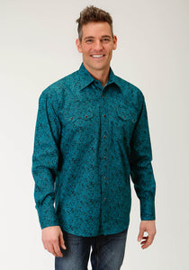 Men's Amarillo Collection- Blue Spruce Amarillo Mens Long Sleeve 2241 Blue Spruce Paisley