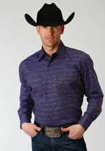 Men's Amarillo Collection- Winter Plum Amarillo Mens Long Sleeve Shirt 1271 Tapestry Print