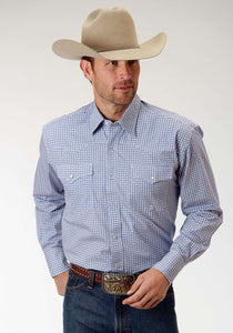 Men's Amarillo Collection- Bridle Path Amarillo Mens Long Sleeve Shirt 0835 Ice Crystals Print