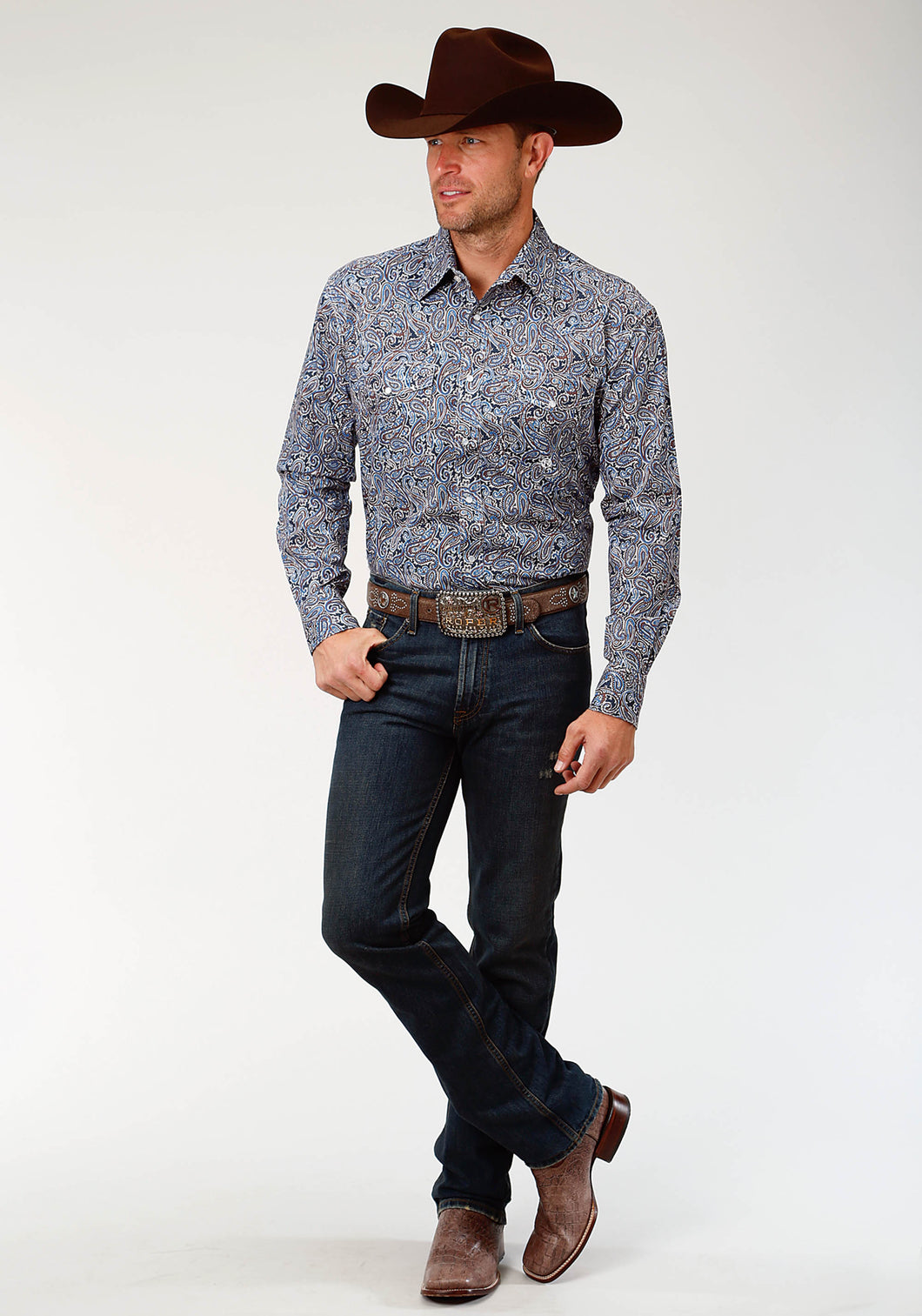 Men's Amarillo Collection- Indigo Trail Amarillo Mens Long Sleeve Shirt 1518 Layered Paisley