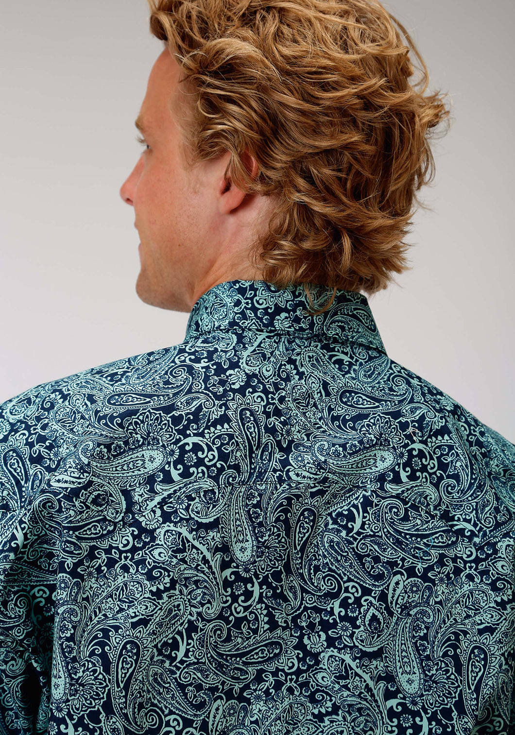 Men's Amarillo Collection- Lucky Clover Amarillo Mens Long Sleeve Shirt 0974 Silver Spur Paisley