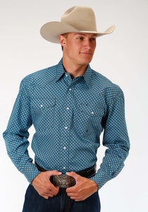 Men's Amarillo Collection- Sundown Amarillo Mens Long Sleeve Shirt 0976 Bias Geo
