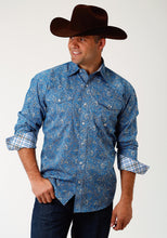 Men's Amarillo Collection- Blue Yonder Amarillo Mens Long Sleeve Shirt 1682 Blue Depths Paisley