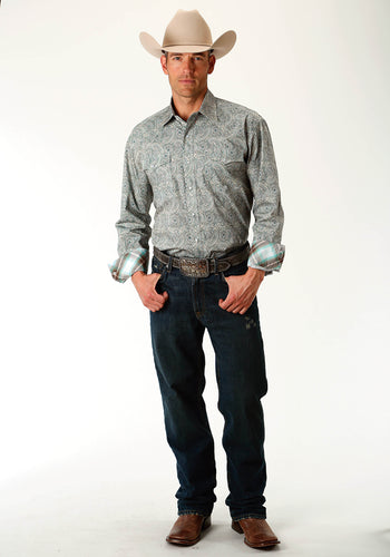 Amarillo Collection- Sage Trail Amarillo Mens Long Sleeve Shirt 1689 Sage Brush Paisley