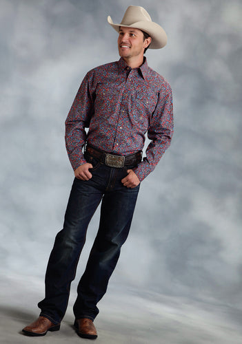 Amarillo Collection- Indigo Fire Amarillo Mens Long Sleeve Shirt 0050 Plaza Paisley