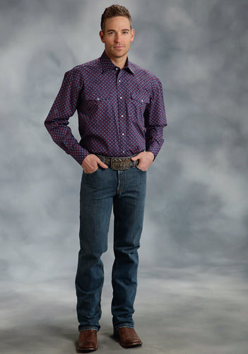 Amarillo Collection- Indigo Fire Amarillo Mens Long Sleeve Shirt 0051 Checkered Geo Print