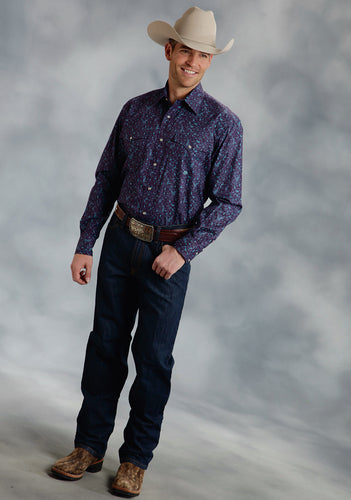Amarillo Collection- Wine Country Amarillo Mens Long Sleeve Shirt 0053 Detailed Paisley