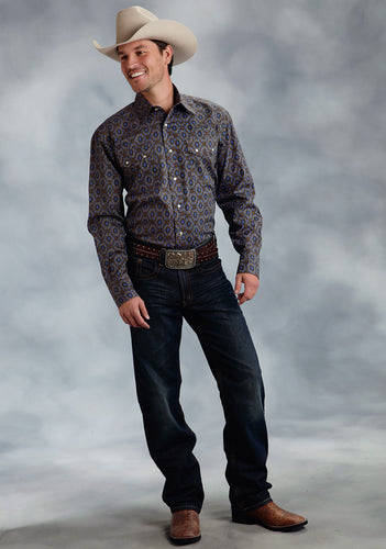 Amarillo Collection- Vintage Leather Amarillo Mens Long Sleeve Shirt 0061 Winter Medallion