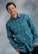 Amarillo Collection- Cold Mountain Amarillo Mens Long Sleeve Shirt 0062 Retro Paisley