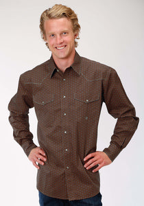 Men's Amarillo Collection- Spiced Rum Amarillo Mens Long Sleeve Shirt 1186 Spoke Foulard
