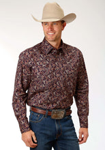 Men's Amarillo Collection- Spiced Rum Amarillo Mens Long Sleeve Shirt 1187 Western Paisley