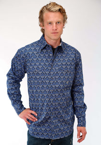 Men's Amarillo Collection- Old Glory Amarillo Mens Long Sleeve Shirt 1191 Victorian Arches