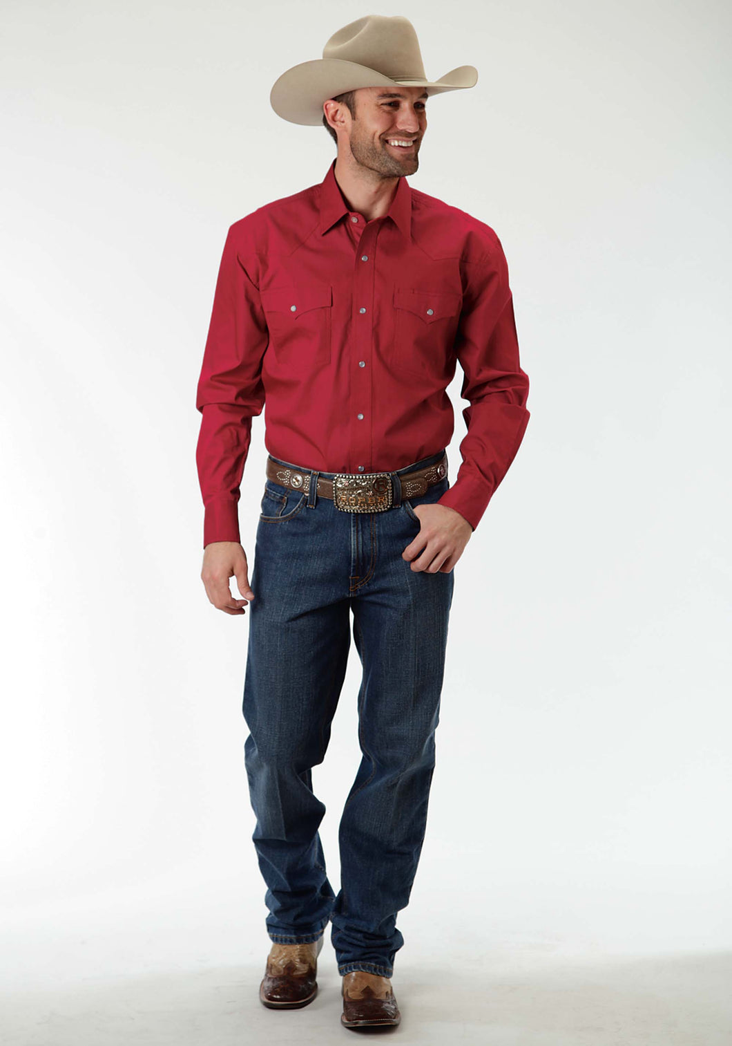 Men's Amarillo Collection- Crossfire Amarillo Mens Long Sleeve Shirt 0856 Solid Poplin - Red