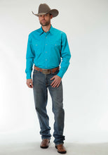 Men's Amarillo Collection- Prairie Wind Amarillo Mens Long Sleeve Shirt 0856 Solid Poplin - Turquoise