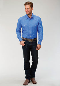 Men's Amarillo Collection- Indigo Trail Amarillo Mens Long Sleeve Shirt 1528 Solid Poplin - Blue
