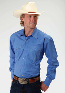 Men's Amarillo Collection- Summer Picnic Amarillo Mens Long Sleeve Shirt 0466 Solid Poplin Blue