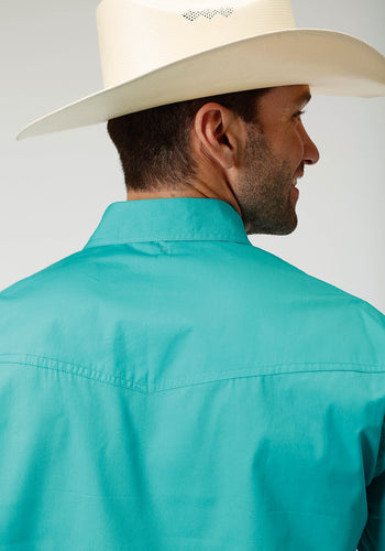Men's Amarillo Collection- Deep Sea Amarillo Mens Long Sleeve 3353 Solid Poplin - Aqua