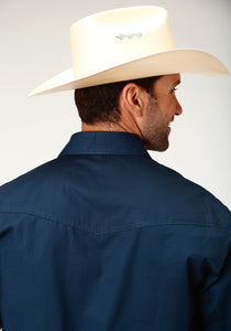 Men's Amarillo Collection- True Blue Amarillo Mens Long Sleeve 3353 Solid Poplin - Navy