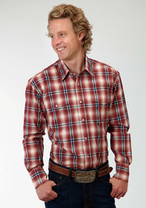 Men's Amarillo Collection- Red Coral Amarillo Mens Long Sleeve Shirt 0557 Wine Plaid