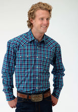 Men's Amarillo Collection- Purple Haze Amarillo Mens Long Sleeve Shirt 0558 Neat Check