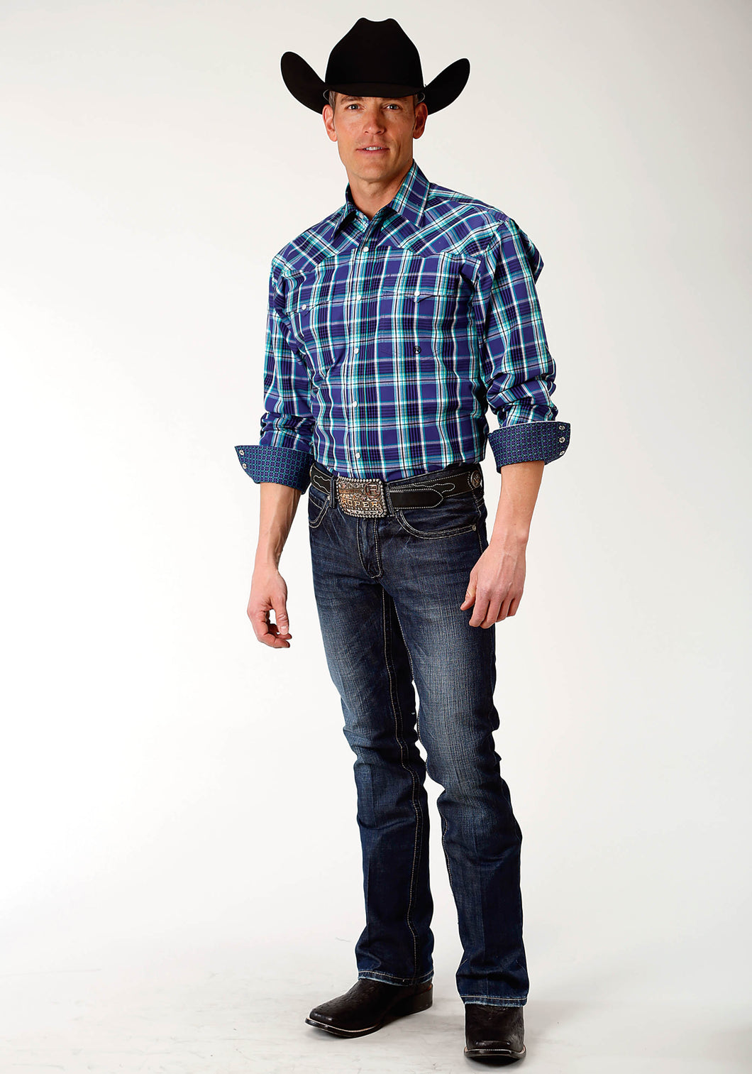 Men's Amarillo Collection- Blue Spruce Amarillo Mens Long Sleeve 2230 Cold Spring Plaid