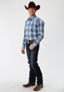 Men's Amarillo Collection- Meadow Amarillo Mens Long Sleeve 1331 Blue Grass Plaid