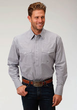 Men's Amarillo Collection- Agate Stone Amarillo Mens Long Sleeve Shirt 1529 Mini Checks - Grey