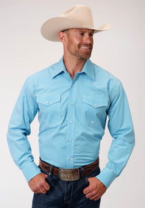Men's Amarillo Collection - Desert Sky Amarillo Mens Long Sleeve 00228 Mini Check - Turquoise