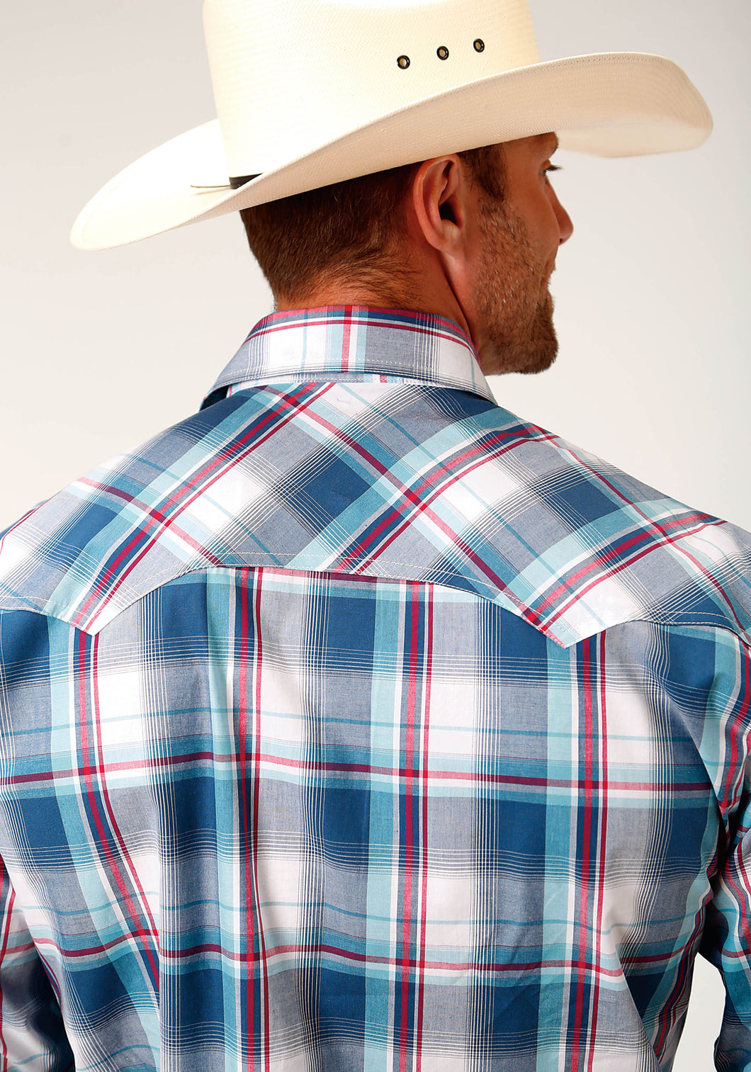 Men's Amarillo Collection- True Blue Amarillo Mens Long Sleeve 3337 Loyal Plaid
