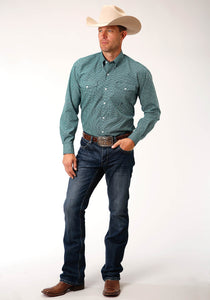Men's Amarillo Collection - Blue Ridge Amarillo Mens Long Sleeve 00151 Meadow Geo