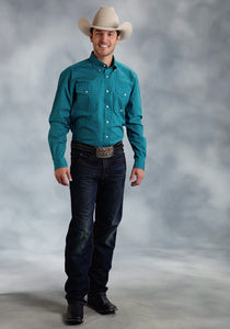 Amarillo Collection- Wine Country Amarillo Mens Long Sleeve Shirt 0052 Star Foulard