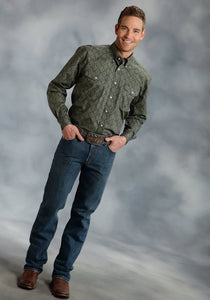 Amarillo Collection- Cold Mountain Amarillo Mens Long Sleeve Shirt 0063 Terrazzo Foulard